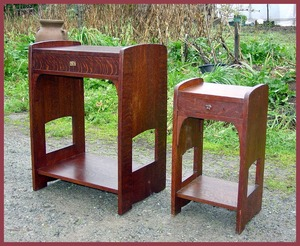 Arts and Crafts Nightstand  with arched cut outs. Shown next to the smaller original version.