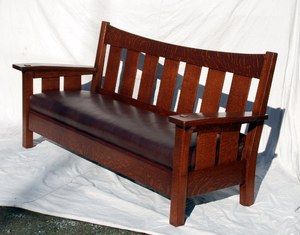 Accurate replica of the rare L. & J. G. Stickley drop arm settle